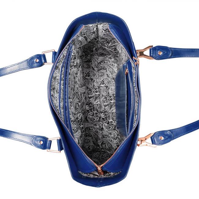 Ekskluzywna skórzana torebka damska elegancka granatowa Mcklein Savarna 97577