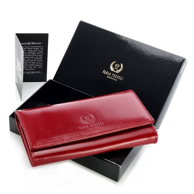 Ekskluzywny skórzany portfel damski w pudełku GA40 czerwony