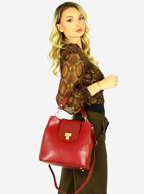 Elegancka shopperka bordowa MARCO MAZZINI s269e