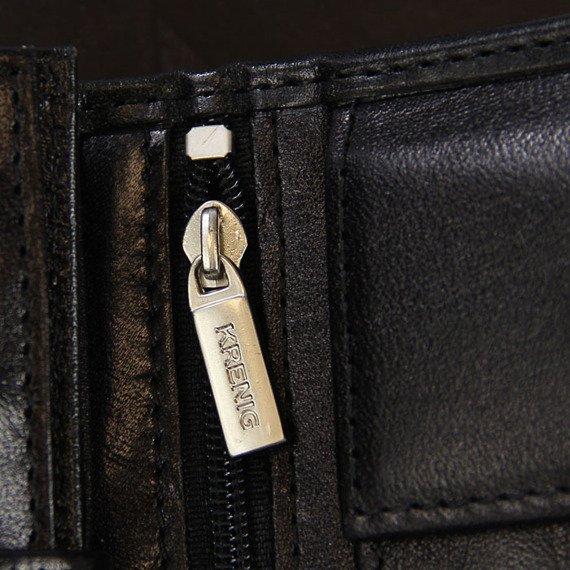 KRENIG El Dorado 11090 - ESKLUZYWNY czarny SKÓRZANY PORTFEL MĘSKI w pudełku