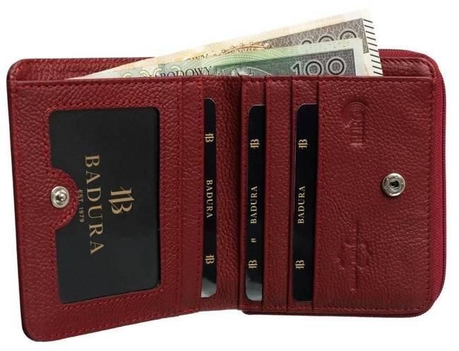 Kwadratowa portmonetka damska czerwona Badura B-41375P-SH