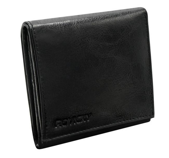 Kwadratowy portfel męski czarny Rovicky  GWR-09-R-9300 BLACK
