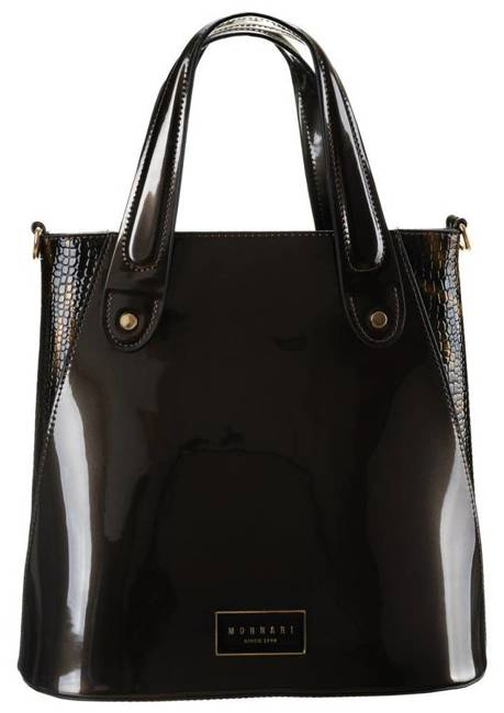 Lakierowany shopper bag brązowy Monnari BAG2810-M19