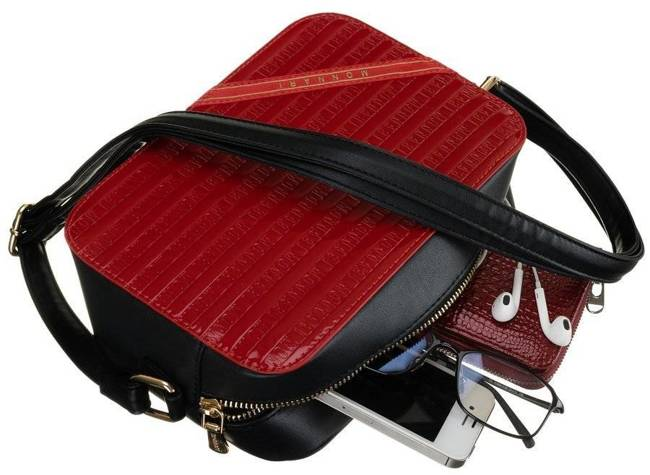 Listonoszka damska czerwono-czarna Monnari BAG1740-M05