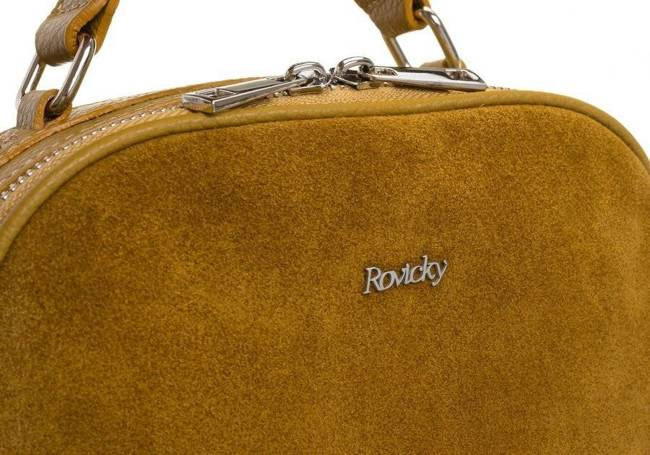 Listonoszka damska kuferek skórzany Rovicky musztardowa