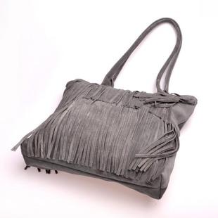 MADE IN ITALY Spalla 227 włoska torebka skórzana z frędzlami szara