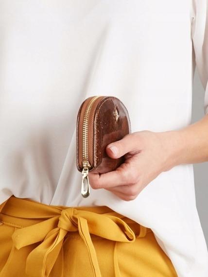 Mała portmonetka damska na zamek brązowa Milano Design