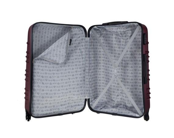 Mała walizka kabinowa ABS 55x37x24cm STL838 metaliczna burgundowa