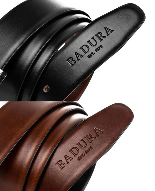 Pasek męski dwustronny czarno- brązowy Badura  BA-PSD-01-C