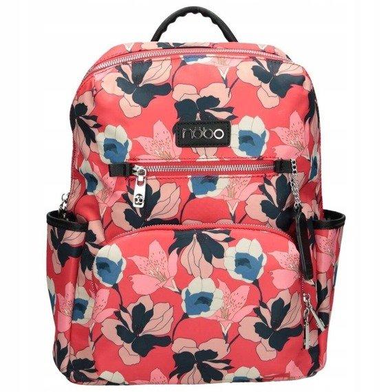 Plecak damski miejski w kwiaty NOBO czerwony