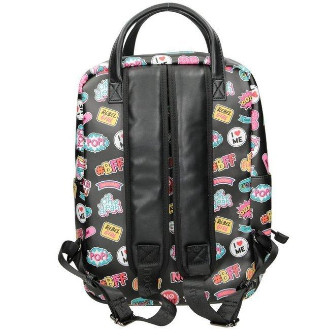 Plecak damski, młodzieżowy czarny print Nobo NBAG-J4260-CM04