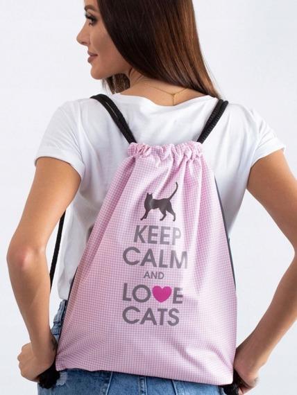 Plecak miejski worek różowy Love Cats