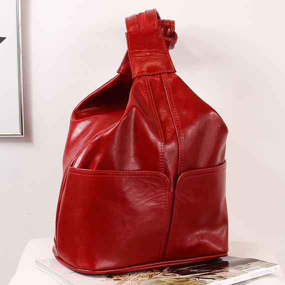 Plecak skórzany damski DAN-A T65A czerwony