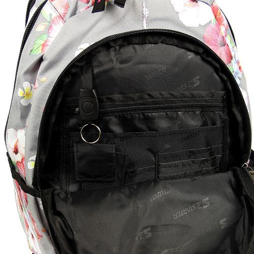 Plecak szkolny dziewczęcy szary w kwiatki STARTER PL9