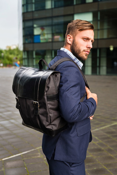 Pojemny plecak z kodury oraz skóry naturalnej Paolo Peruzzi 919 czarny