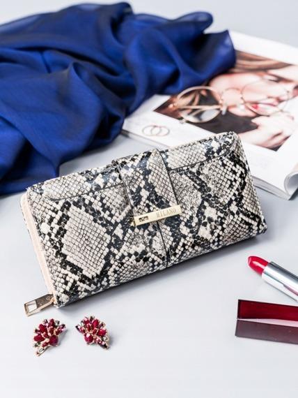Pojemny portfel damski Milano Design srebrny