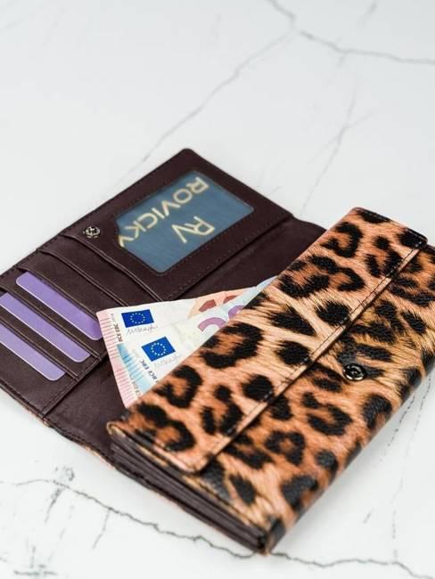 Portfel damski brązowy panterka Cavaldi GD22-PT BROWN