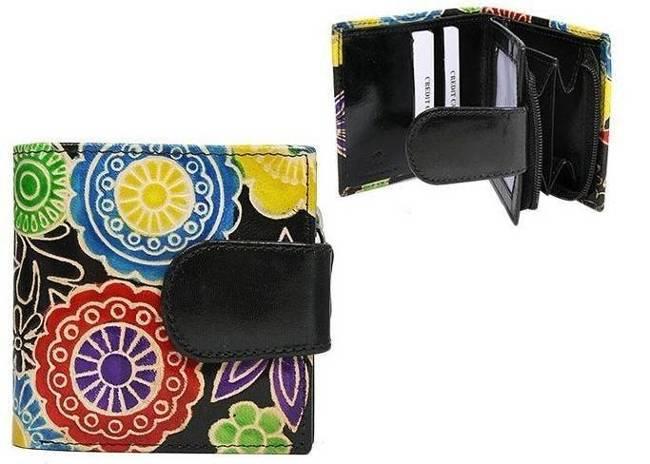 Portfel damski czarny kwiaty SPG-98-SHANTI BLACK