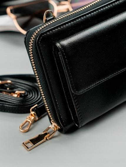Portfel damski czarny, mini torebka Milano Design 1838