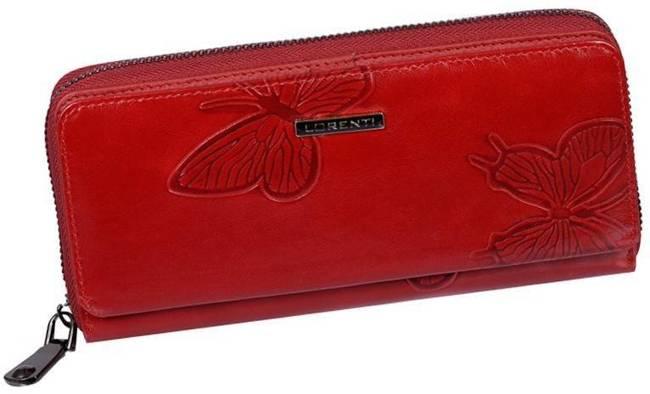 Portfel damski czerwony, tłoczone motyle Lorenti #73001-4-EBF RED