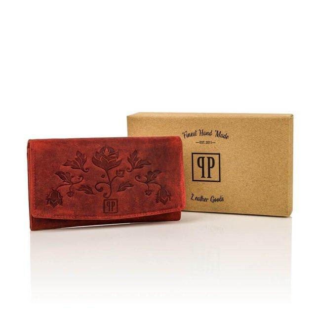 Portfel damski skórzany Paolo Peruzzi czerwony T-01