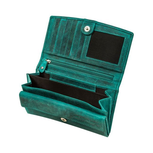 Portfel damski skórzany Paolo Peruzzi zielony T-01