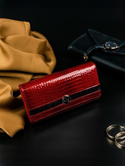 Portfel damski skórzany lakierowany czerwony Cavaldi H22-2