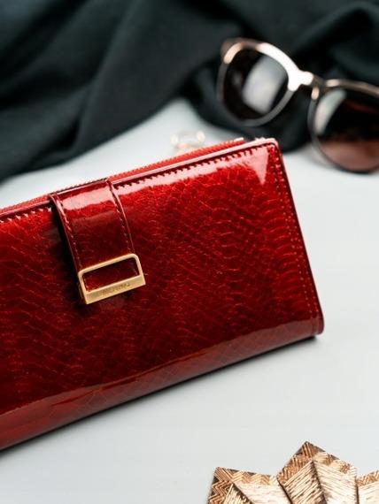Portfel damski slim wallet czerwony Milano Design K1211