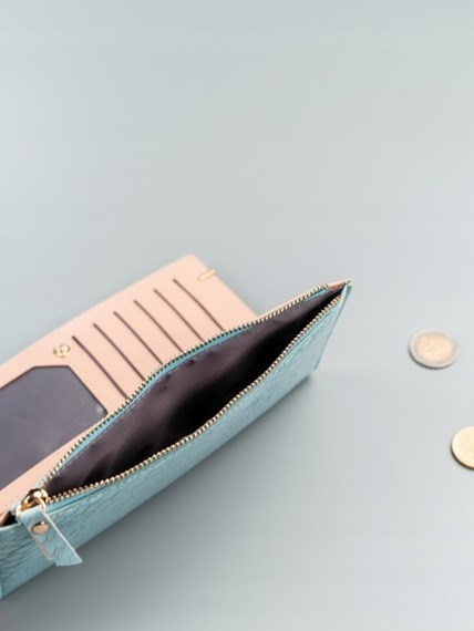 Portfel damski slim wallet niebieski Milano Design K1209