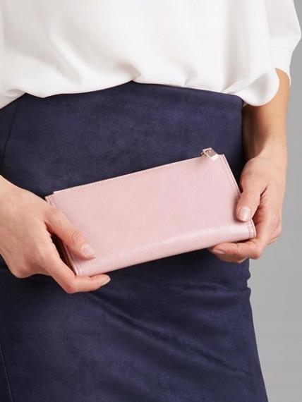 Portfel damski slim wallet różowy Milano Design K1211
