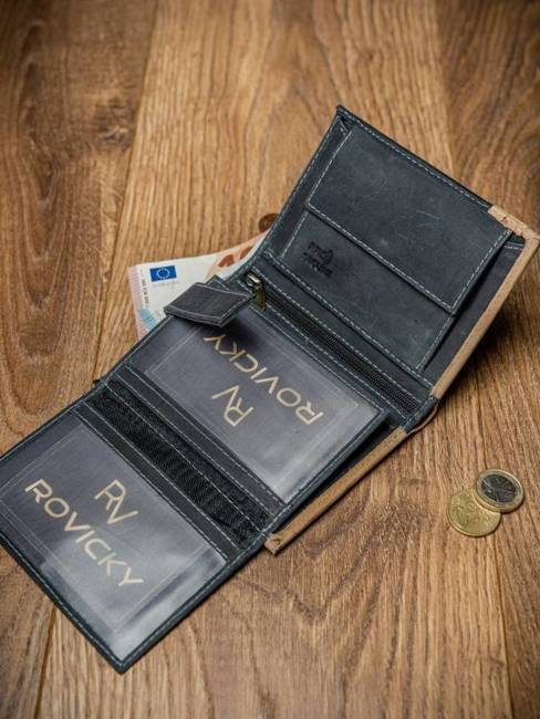 Portfel męski czarno-beżowy Always Wild N104-R-RFID BL+TAN