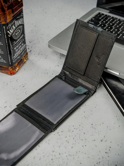 Portfel męski czarno-niebieski  Always Wild N992-SF BLACK/BLUE