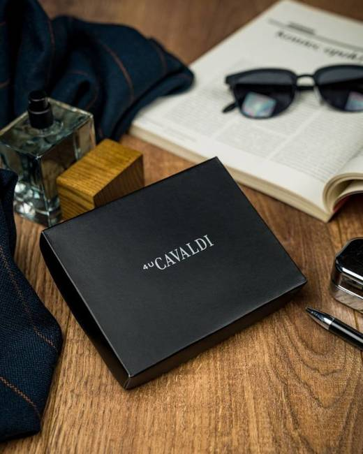 Portfel męski czarno-srebrny Cavaldi N7-IVT BLACK