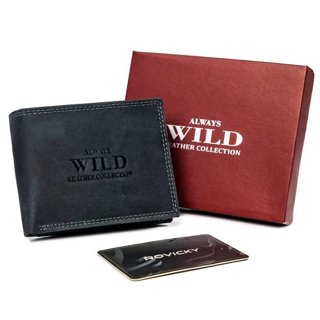Portfel męski czarny  Always Wild N1187-MHU-RFID-2182