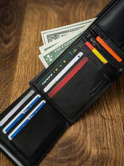 Portfel męski czarny Paul Rossi N992L-GTN-RFID BLAC