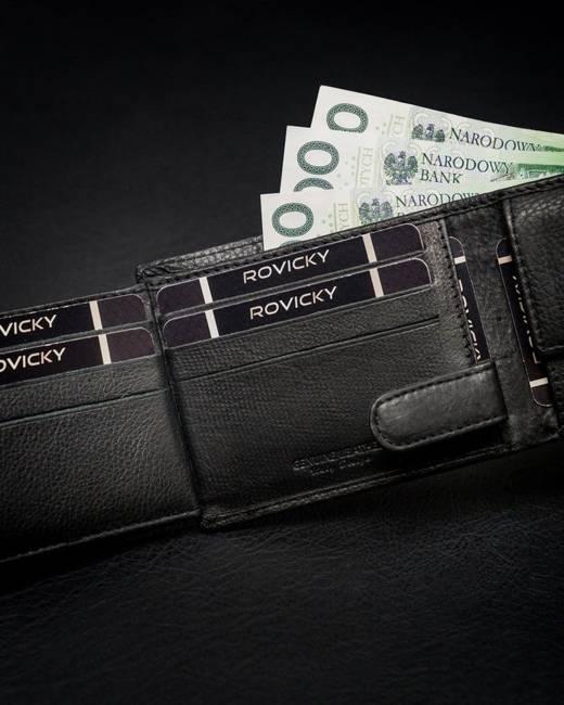 Portfel męski czarny Rovicky N05-PZ-CCR-RFID-BLAC