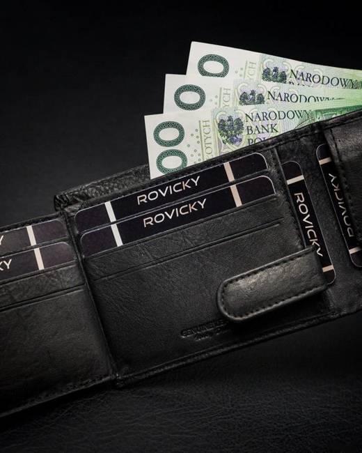 Portfel męski czarny Rovicky N05L-PZ-CCR-RFID-BLA