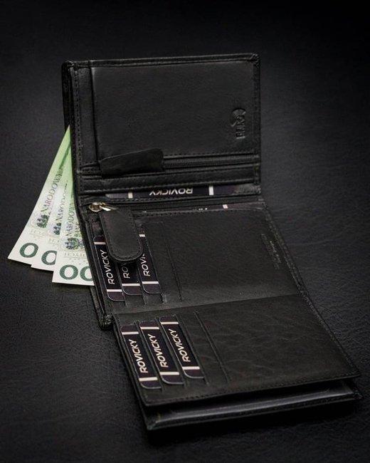 Portfel męski czarny Rovicky N575-PZ-CCR-RFID-BLA