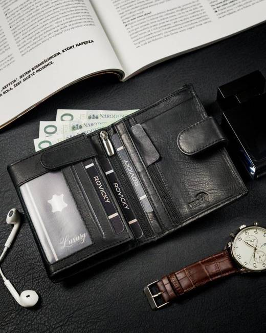 Portfel męski czarny Rovicky  N575L-PZ-CCR-RFID-BL