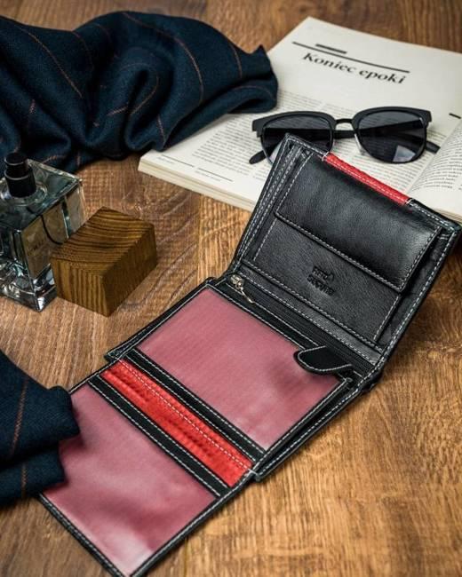 Portfel męski czerwono-czarny N4-DDG BLACK+RED
