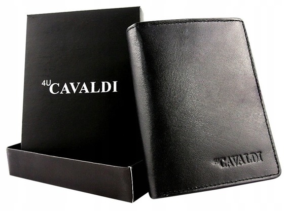 Portfel męski skórzany 4 u Cavaldi 0104-BS czarny
