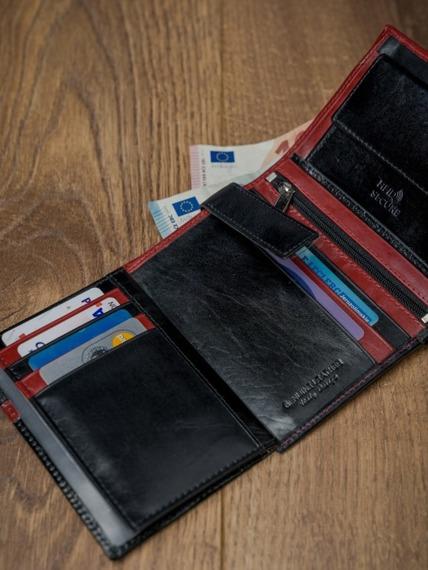 Portfel męski skórzany RFID Rovicky D104-VT2 czarno-czerwony