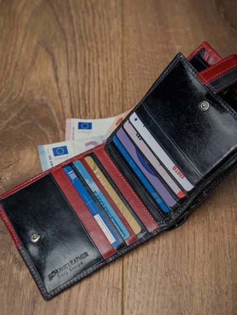 Portfel męski skórzany RFID Rovicky N01L-VT2 czarno-czerwony