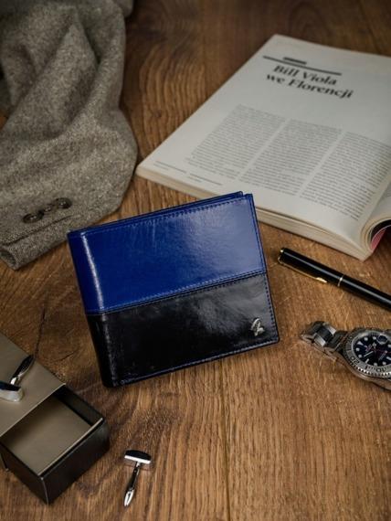 Portfel męski skórzany RFID Rovicky N992-VT2 czarno-niebieski