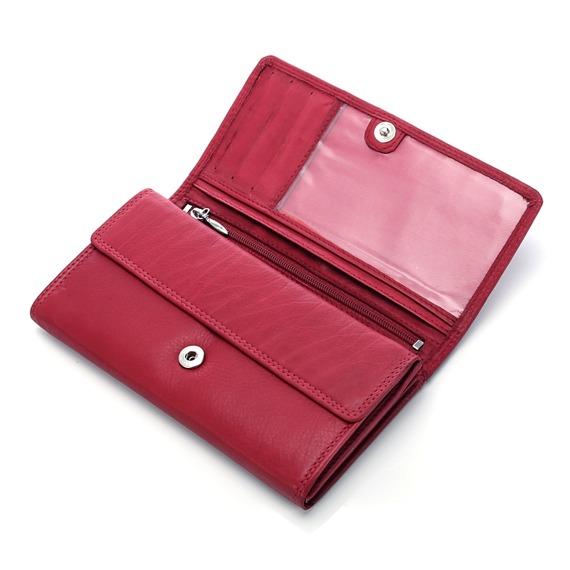 Portfel skórzany czerwony Money Maker 12129b