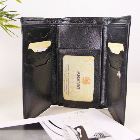 Portfel skórzany damski KRENIG Classic 12022 czarny w pudełku