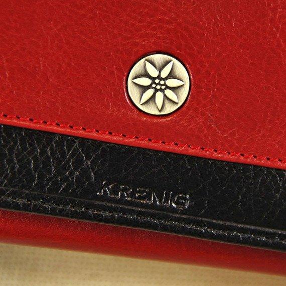 Portfel skórzany damski KRENIG Scarlet 13022 czerwony w pudełku