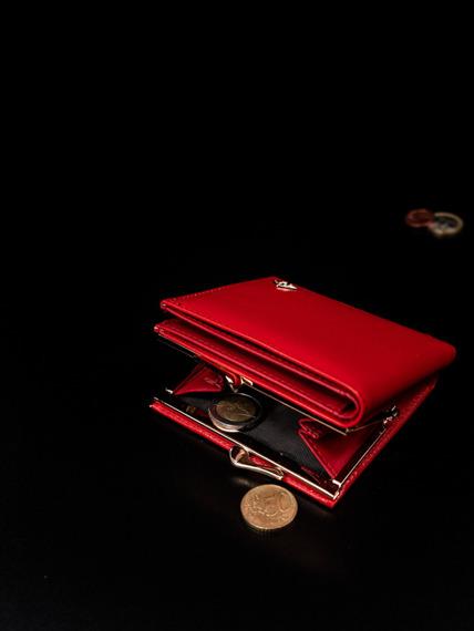 Portmonetka damska na bigiel czerwona Milano Design