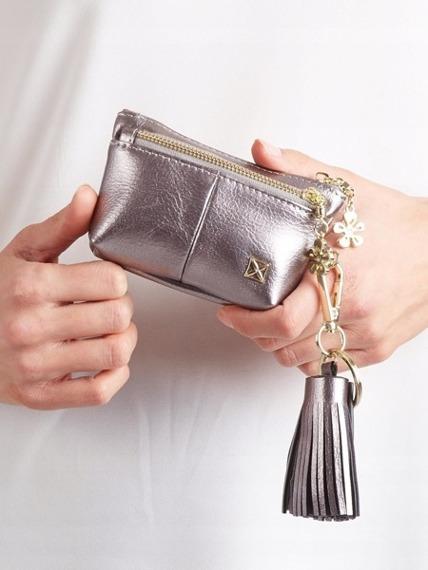 Portmonetka damska z frędzlami srebrna Milano Design
