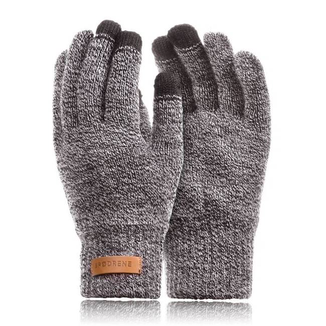 Rękawiczki męskie zimowe do smartfonów Brodrene R1 jasnoszare